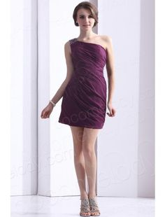 One Shoulder Short Mini Chiffon Grape Party Dress