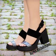 Alsiy Süet Siyah Simli Kısa Topuklu Sandalet #black #heels #platform