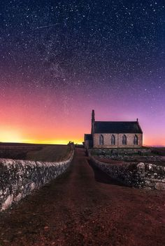 Sunrises Scotland - Starry Sunrise - Another shot from Boarhills chapel taken at a different time. Landscape Photography, Nature Photography, Beautiful Places, Beautiful Pictures, British Countryside, Vacation Destinations, Sunrise, Scenery, Places To Visit