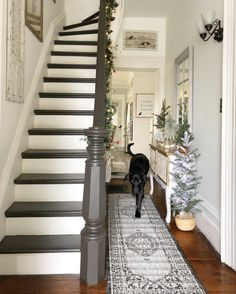 Character home, painted stairs, basement family rooms, farmhouse style deco Staircase Remodel, Staircase Makeover, Entryway Stairs, Basement Stairs, Home Renovation, Farmhouse Renovation, Farmhouse Stairs, Painted Staircases, Spiral Staircases