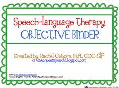 Speech-Language Therapy Objective Binder