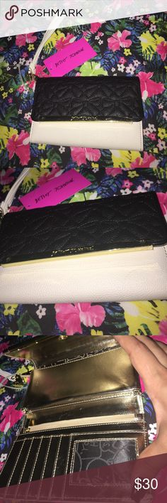 Betsy Johnson Wallet #NWT Betsey Johnson Wallet, white & black with gold accent zipper. Betsey Johnson Bags Wallets