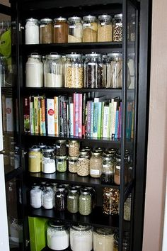Kitchen pantry and cookbooks