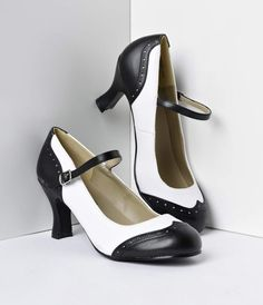 These black and white T-strap Mary Jane spectator heels are a perfectly charming pair to spice up any outfit. Whether you wear them with a little black dress or some high-waisted jeans, their black and white man-made upper and classic Mary Jane style make