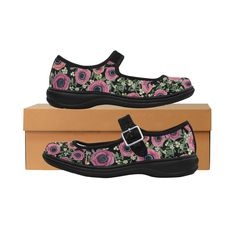 Anemone Floral with Mistletoe Mila Satin Women's Mary  Jane Shoes (Model 4808). http://www.artsadd.com/store/magentarosedesigns?rf=54401