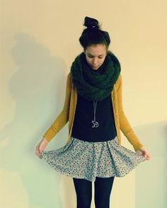 Inditex Green Scarf, Mustard Cardigan, H Black Longsleeve, H Floral Dress, Wool Tights | Clear hearts, grey flowers (by Tok V) | LOOKBOOK.nu