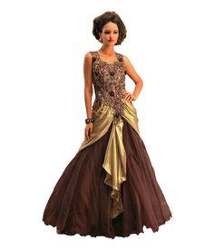 Aramani Fashion Brown Net Gowns