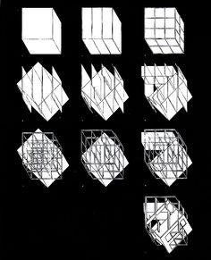 Peter Eisenman, Diagrammi del processo compositivo di House III (Casa Miller), Connecticut, 1969-71