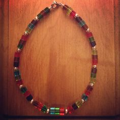 Square+Multicolored+glass+beaded+necklace+by+TarasExpressions,+$24.00