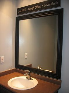 Frame your builder-grade bathroom mirror tutorial. Don't care too much for the sink/counter but the mirror looks good. Diy Mirror, Bathroom Mirrors, Framed Mirrors, Mirror Ideas, Bathroom Ideas, Bathrooms, Mirror Framing, Vanity Mirrors, Mirror Makeover