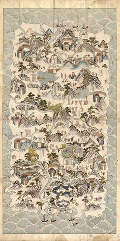 An old map of Hainan, China