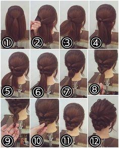 "ถูกใจ 744 คน, ความคิดเห็น 1 รายการ - nest hairsalon (@nest_hairsalon) บน Instagram: ""くるりんぱアップスタイル ① トップを結びます。 ② 両サイドから耳の後ろの髪をとって… ③ 後ろで結びます。 ④ それをくるりんぱします。 ⑤ 残ったすその髪をとって後ろで結びます。 ⑥…"""