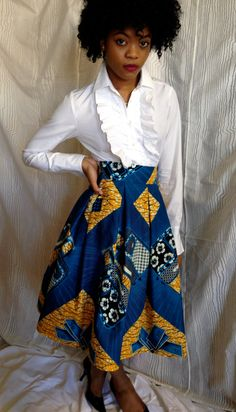 African Wax Print Pleated Skirt. Vlisco Wax. Dutch by LadyChang, $35.00