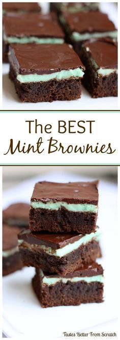 Mint Brownies Thick, moist, fudge-y homemade brownies with the perfect mint and chocolate frosting! I'm addicted! On Thick, moist, fudge-y homemade brownies with the perfect mint and chocolate frosting! I'm addicted! Brownie Recipes, Cookie Recipes, Dessert Recipes, Just Desserts, Delicious Desserts, Yummy Treats, Sweet Treats, Chocolate Frosting, Chocolate Brownies