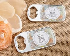 Personalized Travel and Adventure Silver Bottle Opener (Kate Aspen 11141NA) | Buy at Wedding Favors Unlimited (http://www.weddingfavorsunlimited.com/personalized_travel_and_adventure_silver_bottle_opener.html).