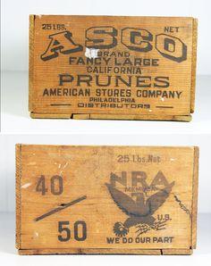 Vintage Wooden Santa Clara Prunes Crate w/ NRA Member Logo – Philadelphia - Wood Crates Shipping Wooden Crate Boxes, Vintage Wooden Crates, Wood Crates, Wood Boxes, Vintage Labels, Vintage Signs, Vintage Stuff, Santa Clara, Blanket Chest
