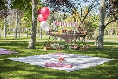 The girl from the candy house: Miranda's second birthday: picnic party - Birthday Party At Park, Picnic Birthday, Boho Birthday, Picnic Baby Showers, Baby Shower Parties, Party Fiesta, Bbq Party, Picnic Theme, Picnic Park