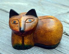 Vintage Hand Carved Wood Cat by RevolutionMercantile on Etsy