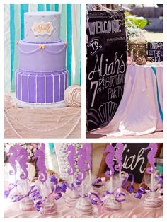 Stunning mermaid themed birthday party on Kara's Party Ideas! Look at the cake and chalk board! Cute!