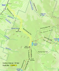 Trail map of hike route to Copple Crown Mountain and East Peak map