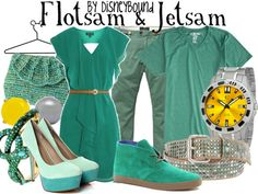 Flotsam & jetsam (eels from the little mermaid) via Disney Bound. They may be the enemies but these outfits are CUTE!!