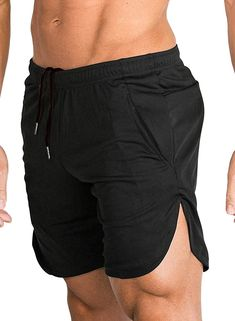 c130aa3000fe2 Men s Gym Workout Shorts Running Short Pants Fitted Training Bodybuilding  Jogger With Pockets - Black -