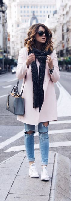 Casual pink coat fall style