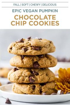 The most EPIC soft Best Vegan Chocolate, Pumpkin Chocolate Chip Cookies, Melting Chocolate Chips, Vegan Pumpkin, Pumpkin Recipes, Fall Recipes, Pumpkin Spice, Vegan Dessert Recipes, Snack Recipes