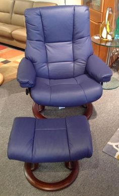 Stressless Kensington Recliner: Paloma Indigo with Walnut, Available at Scanhome Furnishings in Green Bay
