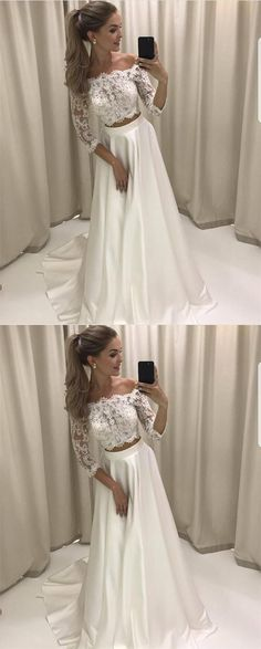 White Lace Prom Dresses, Two Pieces Prom Dresses, Lace Sleeves Prom Dresses, A-line Long Prom Party Dresses, Senior Prom Dresses