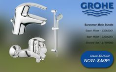 Grohe eurosmart bath bundle basin & bath mixer, shower rail set @ SGD$488 (33265001, 33300001, 27794000) #grohe #bathroom #bath #taps #promotions #singapore Shower Mixer Taps, Bath Mixer, Shower Rail, Shower Set, Bath Taps, Bathroom Bath, Bathroom Gallery, Basin, Singapore