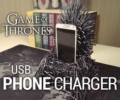 I'm so hyped about the 7th season of Game of Thrones coming out, I had to make a related project - an Iron Throne phone charger!Supply list: USB chargerPlastic cocktail swordsSilver acrylic paintBronze acrylic paintBlack spray paint2mm foamThick foamMDFTools used: Hot glue gunHeat gunWood glue & nails