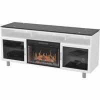 """Z-LINE DESIGNS BOWDEN FLAT PANEL TV STAND HOLDS UP TO 80"""" TV WITH 26"""" LED ELECTRIC FIREPLACE INSERT"""