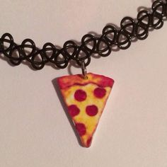 Pizza Emoji 90's Tattoo Choker with Charm, Grunge Necklace, Cute Black... ($6.99) ❤ liked on Polyvore featuring jewelry, necklaces, stretch tattoo choker, choker jewelry, tattoo choker necklace, charm jewelry and cord choker necklace