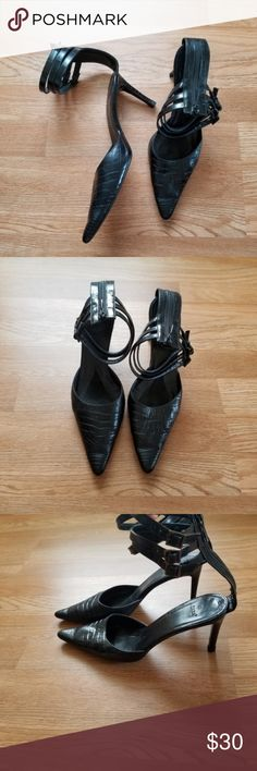 819e36bbe8a3e4 Zara Pump Heels Ankle Straps Closed Toe Crocodile Zara Strappy Pump Heels  Closed Toe Crocodile Print