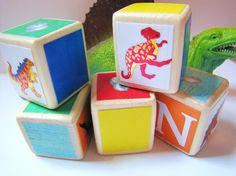 Baby Shower Decoration DINOSAURS Wood Blocks Toddler by MiaBooo, $21.00