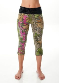 NEW FOR 2014: Capri Lounge Pants - Mossy Oak Obsession Camo with Pink Script