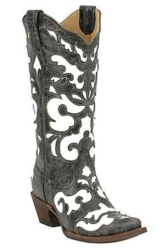 ❥ Corral Ladies Antiqued Black w/ White Inlay Snip Toe Western Boot