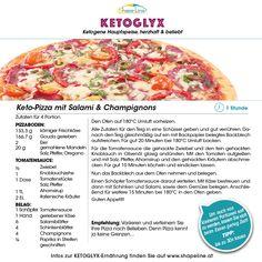 Mit unseren KETOGLYX-Rezepten purzeln die Kilo wie im Nu. Shape-Line empfiehlt heute das Gericht Keto-Pizza. Gouda, Hawaiian Pizza, Ketogenic Recipes, Meal, Food Portions