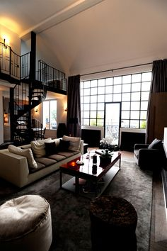 Paris Loft -- Love the staircase! Lofts, Living Area, Living Spaces, Living Room, Warehouse Living, Modern Interior, Interior Design, Loft Spaces, Loft Style