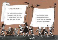 Skeleton Parade by Jack Prelutsky from 'It's Halloween' Halloween Parade, Halloween Stuff, Halloween Costumes, Indoor Slides, Children's Literature, Trick Or Treat, Costume Ideas, Skeleton, Reusable Tote Bags