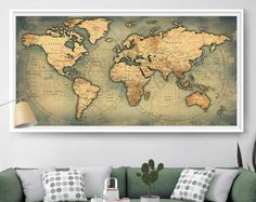Large Push pin world map travel map living home décor wall Art poster personalized Gift for her push pin travel map wall art print (L78)