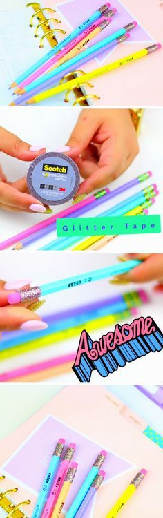 Glitter Pencils   DIY Tumblr Inspired School Supplies for Teens you need to try!