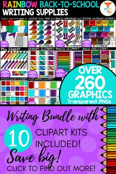 This bundle of vibrant clipart features a variety of writing classroom supplies with great savings! The kit includes 268 images making it perfect for any Back-to-School worksheets or product covers!  #writing #clipart #teacherspayteachers #backtoschool Writing Clipart, Math Clipart, Science Clipart, Writing Resources, School Resources, Elementary Teacher, Elementary Education, Back To School Worksheets, Lined Writing Paper
