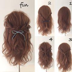 【三つ編みで大人ガーリーなハーフアップ】 髪全体を巻いて両サイドの髪を三つ編みにして結ぶだけという簡単アレンジ。 仕上げにリボンやバレッタなどヘアアクセをプラスすれば見栄えも華やかに♪