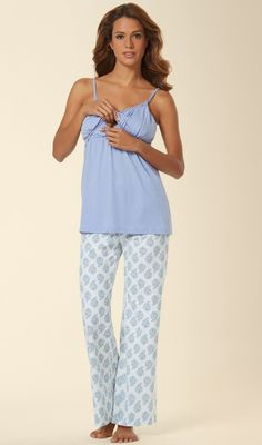 Belabumbum Nursing Pajama Set in Violette Print. Floral clusters bloom throughout long pajama pants. Lace and pleated detail cami with lifting bust is perfect for before or after the baby.