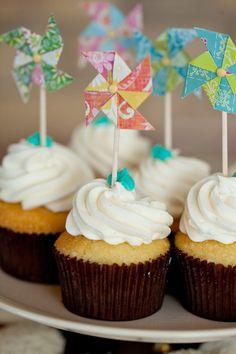 pastel pinwheels as a cupcake decoration