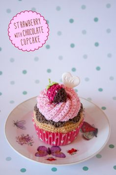 """Strawberry Corchet Cupcake by """"I am a Mess"""""""