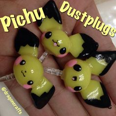 Polymer Clay Pichu Pokemon Dust Plug by DragonCraftsShop on Etsy, $2.60