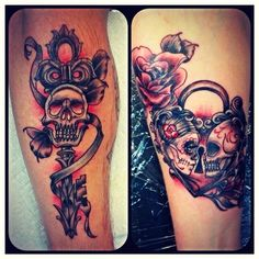"""Couple Tattoo"" (Lock & Key) for my boyfriend (of over 20 years) and I, done by . - ""Couple Tattoo"" (Lock & Key) for my boyfriend (of over 20 years) and I, done by KARMA Tattoo lo - Skull Couple Tattoo, Couple Tattoos Love, Tattoos Skull, Body Art Tattoos, Wife Tattoos, Heart Tattoos, Flower Tattoos, Sleeve Tattoos, Tatoos"